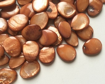 Copper Mother of Pearl Flat Teardrops - 20 x 15mm