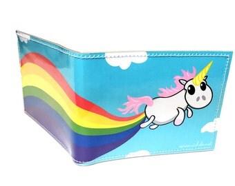 Unicorn Farts Rainbow bifold vinyl wallet