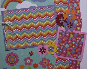 hi...girl...sunny days and rainbows...TWO completed 12x12 Premade Scrapbook pages