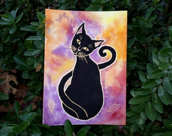 Original Watercolor Black Cat Halloween Autumn Painting 5 x 7