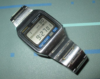 Vintage 80s Mens Seiko Digital Wrist Watch with Calendar