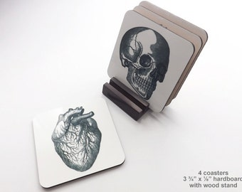 Anatomy 3.75 inch hardboard Coasters cork back white coat ceremony graduation gift for him her anatomical heart medical goth geekery doctor