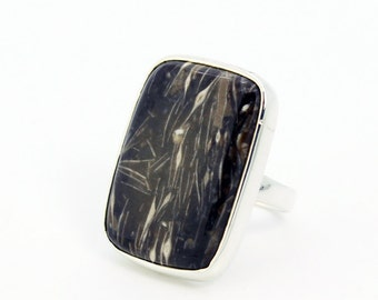 ON SALE Reg 99 Rectangular feather Agate ring 925 silver mount, solid silver and natural stone