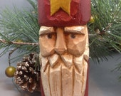 Primitive Carved Santa Ornament From Antique Maine Fishing Float, Primitive Christmas Tree Topper