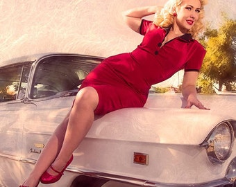 Pinup Girl Rockabilly Dress with Bow Vintage Inspired Retro Red