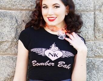 Black Bomber Babe Pinup Girl Rockabilly Clothing Babydoll Tshirt