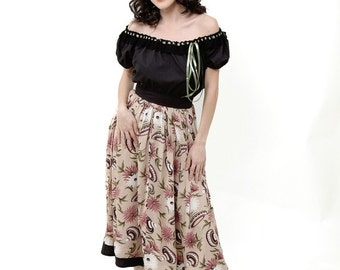 3 DAY SUPER SALE Nicole Katherine Designs Sombreros Peasant Skirt Pinup Girl Rockabilly Large