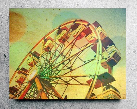 "Ferris Wheel Canvas Art - Retro Vintage Style - Carnival Nursery Room Decor - Whimsical Pastel Art  ""Summer at the Fair"""