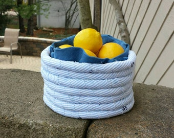Blue Basket, Handmade Basket, Rag Basket, Coiled Basket, Fabric Basket, Rope Basket, Basket with flowers, blue Striped with Anchors