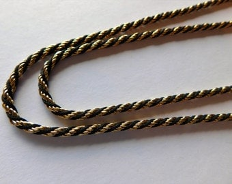 "Trifari Necklace Vintage Jewelry Black & Gold Twisted Classic Style 30"" TIMELESS"