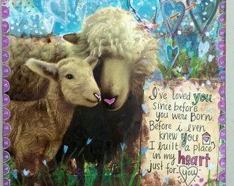 Greeting Card For Beloved Baby - I've Loved You Since Before You Were Born - Print of my Original Mixed Media Art by Vals Art Studio