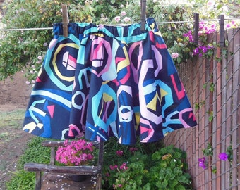 S A L E - Blue Twirly Circle Skirt RePurposed ReCycled Girls size 3 toddler UpCycled Ready Now!