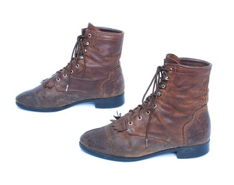 size 6 COMBAT brown leather 80s 90s GRUNGE lace up ROPER hiking ankle work boots