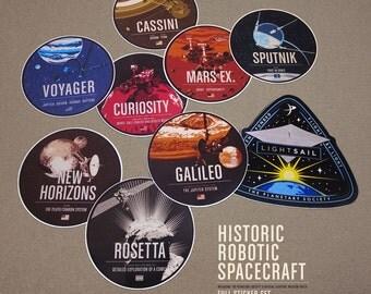 9 Historic Robotic Spaceprobe Stickers