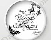 Tim Burton Style Wall Clocks - Clocks - 'Beauty & Strangeness' - 10 Inch Diameter - Round - Edgar Allan Poe Quotes