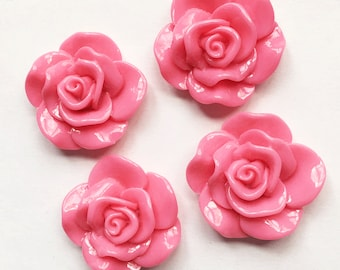 6 pcs of acrylic Lucite flower Cabochon 30x28mm Hot Pink