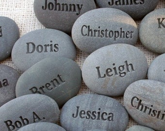 Name Rocks - for corporate event, party or family gathering - engraved name stones - set of 11 to 19