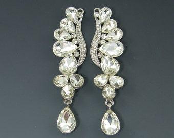 Long Undulating Ornate Water Drop Clear Rhinestone Chandelier Earring Findings Bridal Silver Teardrop Wedding Jewelry Supply  LG4-11 2M