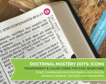 INSTANT DOWNLOAD - Seminary Doctrinal Mastery Dots: Icons - LDS Scripture Margin Stickers - Full 154 pc printable set