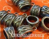 Antique Brass Pendant Bail, Bronze, Antique Silver 12, 6mm x 12mm