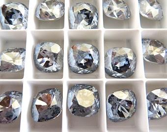 4 Blue Shade Foiled Swarovski Crystal Square Cushion Cut Stone 4470 12mm