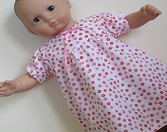 Bitty or Twin Doll Clothes - White with Pink Flowers Short-sleeve Nightgown