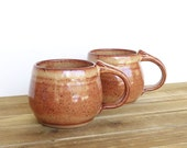 Coffee Cups Ceramic Stoneware in Shino Glaze - Two Pottery Mugs, Rustic Kitchen