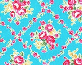 Aqua Turquoise Pink Lattice Rose Floral 31269 70 Fabric by Lecien Flower Sugar