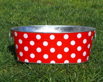 Red and White Quarter Dot Medium Short Oval Tub - Great for a Birthday Party!
