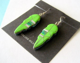 Reversible Gaspeite and Turquoise Sterling Silver Inlay Leaf Earrings