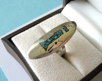 Navajo Sterling and Turquoise Inlay Yei Bichei Ring