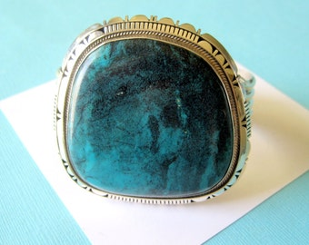 SALE..Massive Navajo New Lander Blue Turquoise and Sterling Silver Cuff