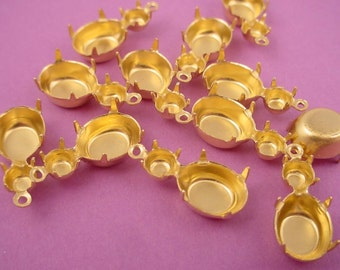 12 Brass Double Prong Setting oval 10x8   20SS Round 1 Ring Closed Backs