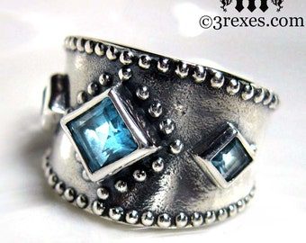 3 Wishes Silver Ring Blue Topaz Medieval Band Size 6