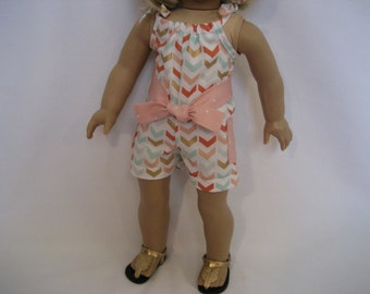 18 Inch Doll Clothes - A Little Gold and Coral Romper made to fit dolls such as American Girl, Maplelea and Journey dolls