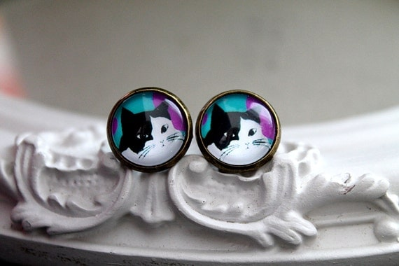 Cat  clip earrings sweet lolita feminine black and white kitty kitten kitteh