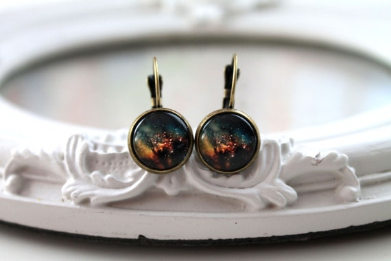 Pretty galaxy earrings leverback posts space astronomy black yellow