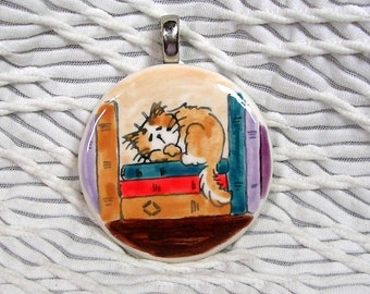 Ginger & White Cat On Books Pendant / Slide With Silvertone Bail Handmade by GMS