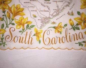 Vintage South Carolina Hanky from the 1950s - Handkerchief Hankie