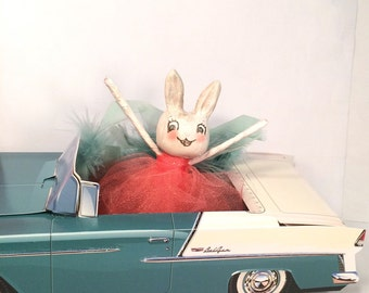 Bunny and her 1955 Belair retro vintage bunny rabbit doll paper clay ooak art doll party decor anthropomorphic toni kelly