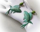 Koi Fish Verdigris, long turquoise blue green earrings, Yin Yang oriental Zen Yoga balance symbol avatar earrings, stone beads and brass