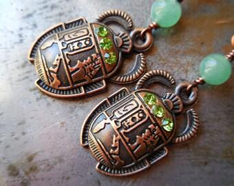 Scarab beetle earrings Egyptian copper animal bug earrings king scorpion green aventurine egypt steam punk steampunk victorian bug beetle