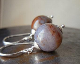 Pietersite earrings, Tempest stone organic natural gemstone bead 925 sterling silver simple modern earrings chalcedony quartz crystal orb