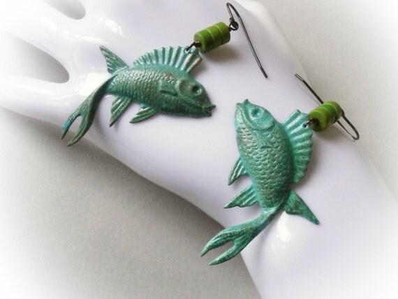Koi fish verdigris long turquoise blue green earrings yin for Green koi fish