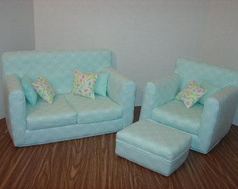 18 Inch Doll Sofa, Chair, and Ottoman, Light Blue,  Handmade Doll Furniture