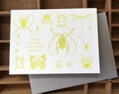 letterpress insects birthday card