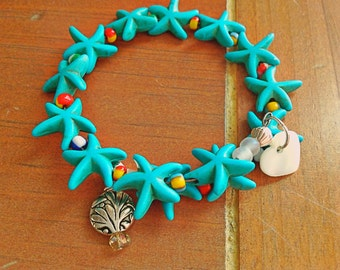 Starfish Bracelet Turquoise Memory Wire With Mother of Pearl Heart Dangle