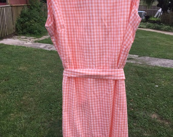 Vintage Orange and White Gingham Check Cotton House Dress