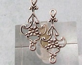 Dainty Floral Connector, Antique Silver, 4 Pc. AS380
