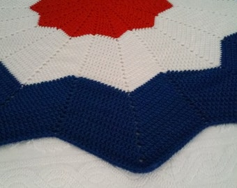 Red, White and Blue Star Afghan